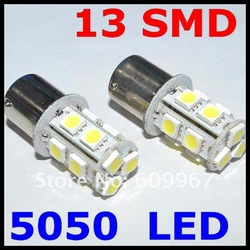 Free shipping +50pcs/lot Car Light 13SMD 5050 LED White 1156 BA15S 1141 3497 Bulbs Turn Signal Tail Light bulb(China (Mainland))