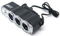 1piece/lot new/3-Way Car Cigarette Lighter Socket Splitter DC 12V +USB
