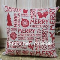 Merry Christmas Burlap Cushion Cover 45cmx45cm Christmas Gift Present Pillow Case