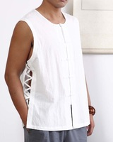 on sale Fluid - - reminisced chinese style plate buttons men's clothing vest yzs340 white