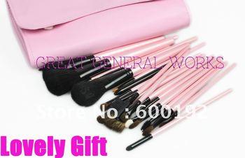 Brushes on Best Choice Elegant 23pcs Pink Goat Hair Makeup Brushes Set Cosmetics