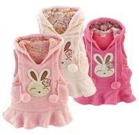 children Kids warm Vest skirt Tank Clothing Girls' fleece Dresses Vest dress pink red beige free shipping W04