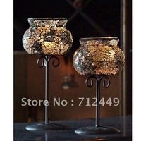 Iron & Glass Candleholder for home / Wedding decoration, European Style round Candleholder, free shipping CH07