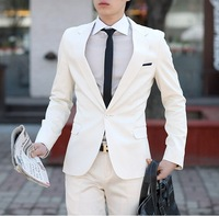 on sale Men's clothing suit white suits slim male suit set work wear formal dress wedding formal dress set