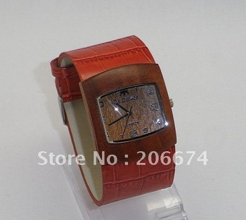 latest style Genuine leather strap made Women's Wrist Watch (Brown.pian.red.blue.)free shipping