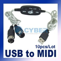 Free Shipping 10pcs/Lot MIDI USB Cable Converter to PC Music Keyboard Adapter Retail & Wholesale