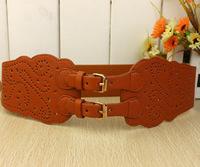 Cowhide genuine leather buckle vintage saddle cummerbund cutout cummerbund breasted elastic women's wide belt