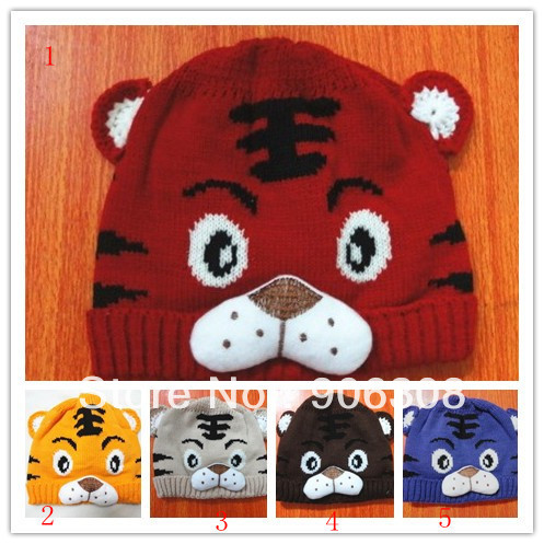 Wholesale 5pcs/Lot,Free shipping!4Colors Baby Hat Cartoon Tiger Children's Knitted Winter Cap Animal Beanies Best Gift for Xmas(China (Mainland))