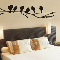 Free Shipping Home Decor Tree Branch Birds Pattern Wall Stickers Wall Decal