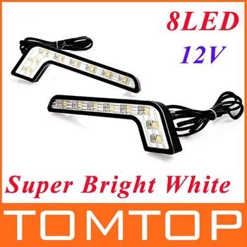 2 * Super Bright White 8 LED DRL Car Daytime Running Driving Light free shipping dropshipping Wholesale