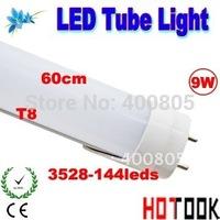 Wholesale G13 T8 Tube Light LED 9W 600mm 60CM 3528 144leds Lights 85V~265V warranty 2 years CE RoHS x 25 PCS -- ship via express