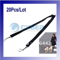 20Pcs/Lot Two Way Double Leash Coupler Walk 2 Dogs 1 Lead nylon swivel snap Black 710