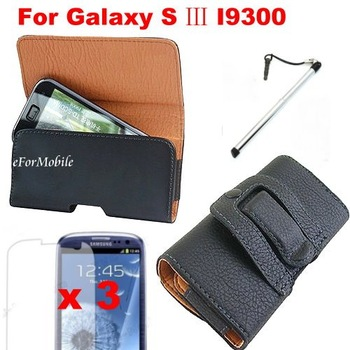 Black Belt Clip PU Leather Phone Case Cell Phone Bag Cell Phone Case For Samsung Galaxy S3 I9300