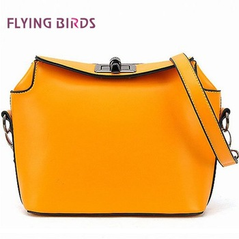FLYING BIRDS 2012 Summer Hot Selling Lock Bag Women Popular Hit Color Style Bag Candy Color Shoulder Bag PU Leather HM02106