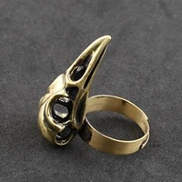 Gothic Punk Jewelry Adjustable Copper Bird Skull Ring Free Shipping On $15 Orders