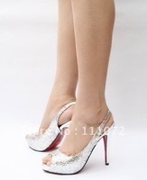 free shipping silver glitter peep-toe slingback women's dress shoes, wedding party shoes