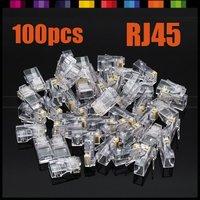 Free shipping!  100pcs Metal Shield RJ45 RJ-45 8P8C Network CAT5 CAT5E Modular Plug Jack Connector