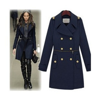 2013 autumn winter [YZ043] fashion female/women's woolen outerwear/overcoat/jackets/thick trench plus size free shipping