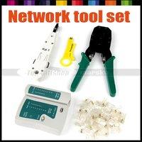 Free shipping! Network Cable Tester RJ45 RJ12 CAT5 CAT5E+ Punch Tool+ Crimper Pliers Crimp Tool+ 100pcs RJ45 Cat5 Network Module
