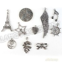 Hot Item 60pcs/lot Fashion Wholesale Silver Plated Zinc Alloy Mixed 10 Designs Charm Pendant Jewelry Accessories Findings 142730