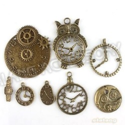 New Fashion 24pcs Antique Bronze Plated Zinc Alloy Mix 8 Types Watch Designs Charm Pendant Jewelry Accessories Findings 142732(China (Mainland))