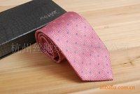 Pink jacquard Takifugu grid tie 100% silk commerce 2010F-56
