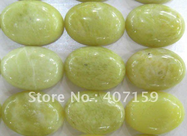 Free Shipping - 18x25mm Oval Lemon Jade Stone CAB Cabochon Jewelry Beads for Rings Pendants Bracelets Wholesale(China (Mainland))