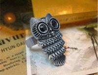 From $ 10 wholesale retro black eye owl ring C88