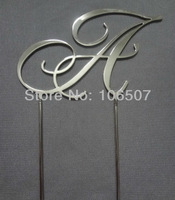 "Hot sell Stainless Steel wedding cake topper monogram cake topper RCE font letter ""A"""