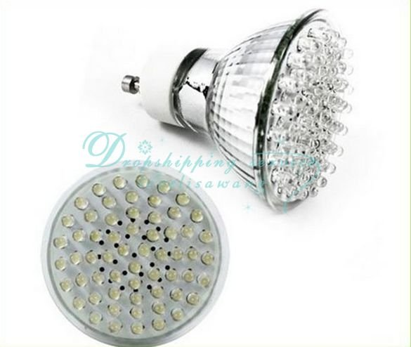 Free Shipping/Drop Shipping Wholesale GU10 White 60 LED Spot Light Lamp Bulb Spotlight 230V(China (Mainland))