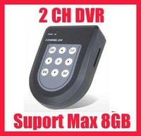 Free shipping!! 2CH CCTV MINI SD DVR Recorder Max 8G Motion Detection