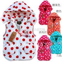 2014 new baby waistcoat children's vests polka dot clothes thick cute hoodies tank top winter sleeveless coat 3pcs/lot kids wear