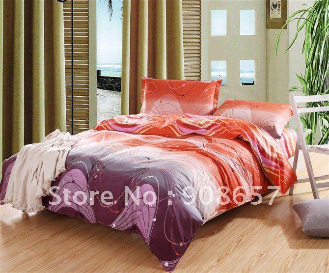 Stripe purple orange blue tencel comforter bedding set - Orange and purple bedding ...