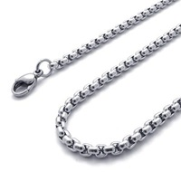 3.5mm 316L Stainless Steel Square Pearl Rolo Chain Necklace(16-20 inch )