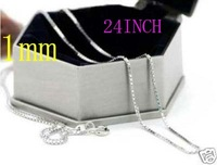 Unique style chain  Free Shipping! Wholesale 925 Sterling Silver 1MM Box Chain   24INCH Jewelry chain wholesale price