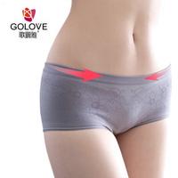 Bamboo charcoal fiber antibiotic thin panty butt-lifting women's low-waist boxer shorts belts