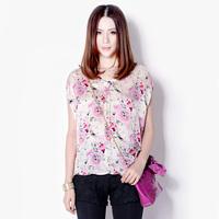 Fresh nattierblue pink print batwing sleeve shirt V-neck shirt short-sleeve