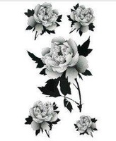 Shipping Free Gray Five Big Rose Tattoo Stickers Temporary Tattoos Fake Tattoos Fashion Models 10pcs/lot