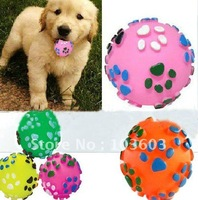 Dogs talking toys, color rubber pet toys, pet footprints resistant bite hollow ball 10pcs/lot + Free Shipping