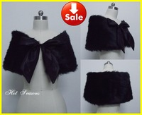Black White Faux Fur Shrug Cape Stole Wrap Shawl Ribbon Wedding Bridal Cheap