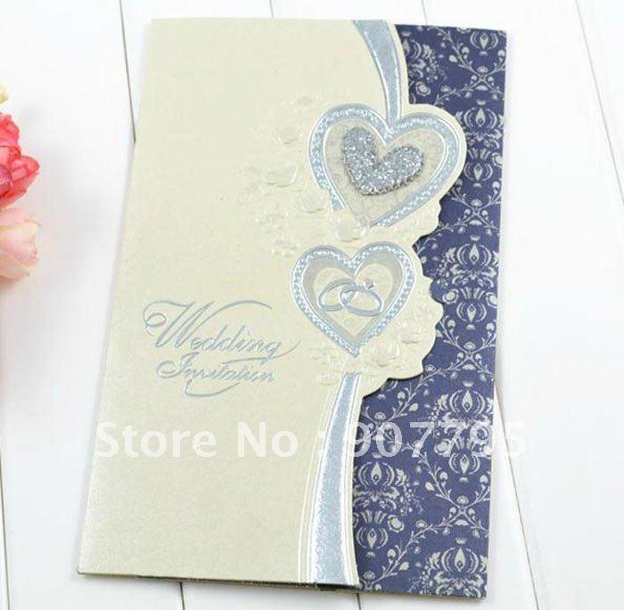 No 87 Classic Style Wedding Invitation Card Wedding Card With 2 Blue Heart Design 200pcs Free