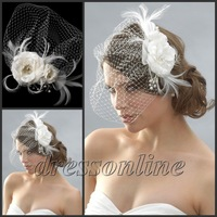 VE471 Gorgeous Feather Net Veil Ivory White Beaded Bride Wedding Hats Bridcage Veils
