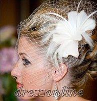 VE470 Charming Hot Sale MOQ 1 Piece Ivory White Weding Party Fancinator Birdcage Veils
