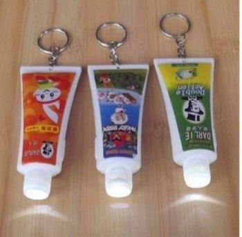 Fashion  Mini Toothpaste Case Box Light LED Flashlight Key Chains Ring Keyrings Free shipping