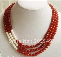 Fashion Red Jade & White Freshwater Pearl Necklace