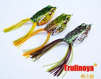 Free shipping,Fishing LureTrulinoya Snakehead killer Soft hook bait frog plastic fishing lure set, 14g 55mm