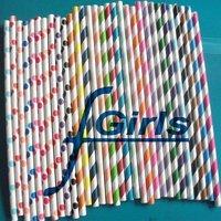 1000pcs Mixed Polka Dot Striped Paper Straws,Drinking Paper Straws ,bio-degradable Paper Straws