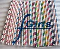 2000pcs Mixed Polka Dot Striped Paper Straws,Drinking Paper Straws ,bio-degradable Paper Straws
