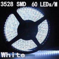 5m/lot 12v white 3528 SMD 60 LEDs/M flexible led strip lights led ribbon