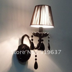 Free Shipping Black Crystal Wall Light with Fabric Shade(China (Mainland))